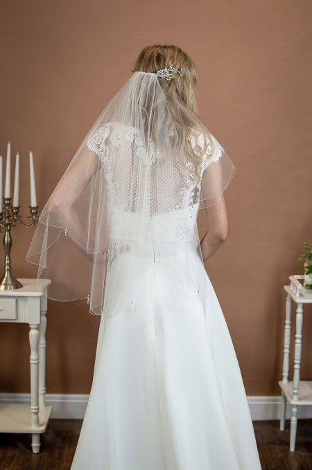 DANIKA – two layer waist length wedding veil with a scalloped edge & teardrop crystals