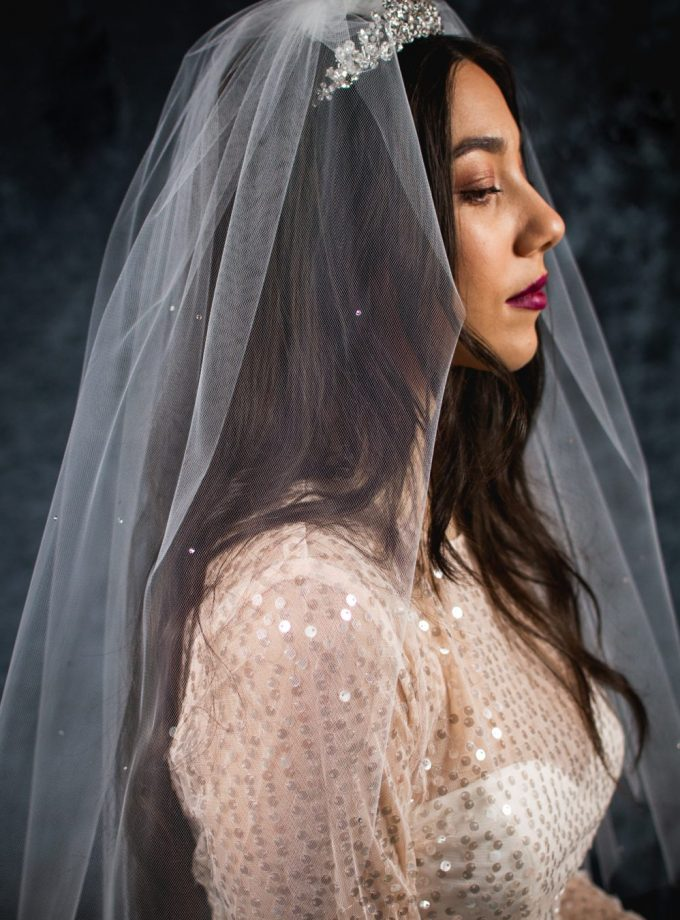 EVIE – one layer waist length wedding veil with a cut edge & scattered diamantes (2)