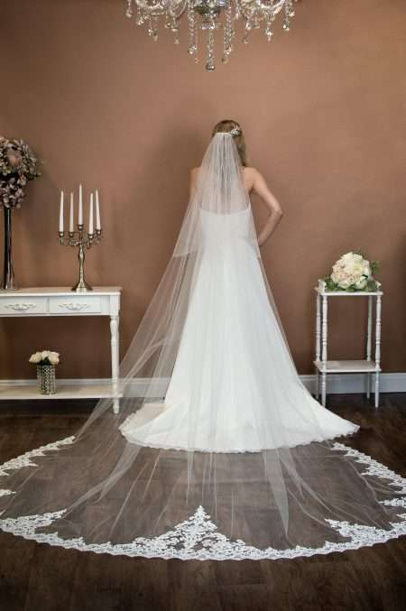 Elizabeth - extra long two layer cathedral veil with wide lace at the bottom on bride