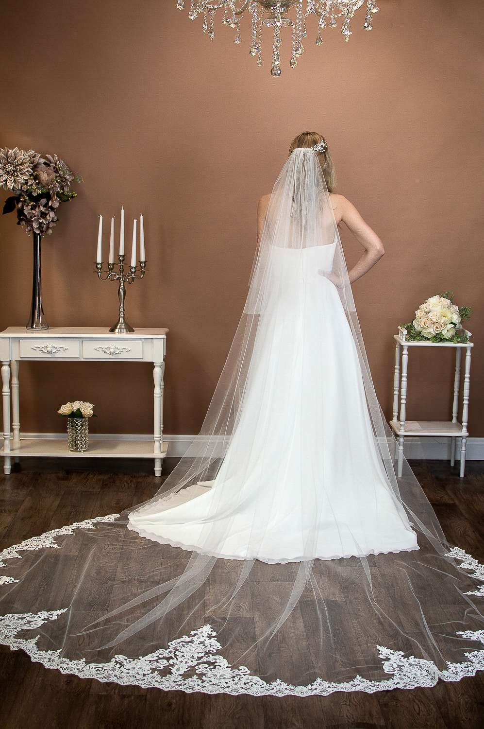 Elizabeth - extra long two layer cathedral wedding veil with wide lace at the bottom on bride