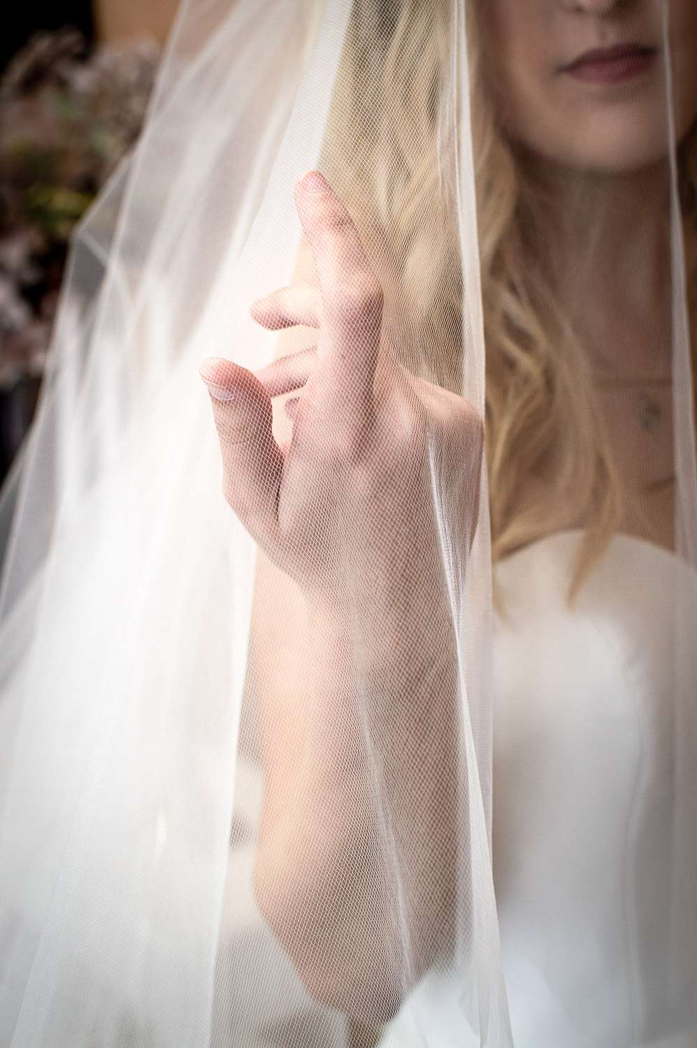 Elizabeth - two layer cathedral veil with wide lace at the bottom on bride closeup plain blusher