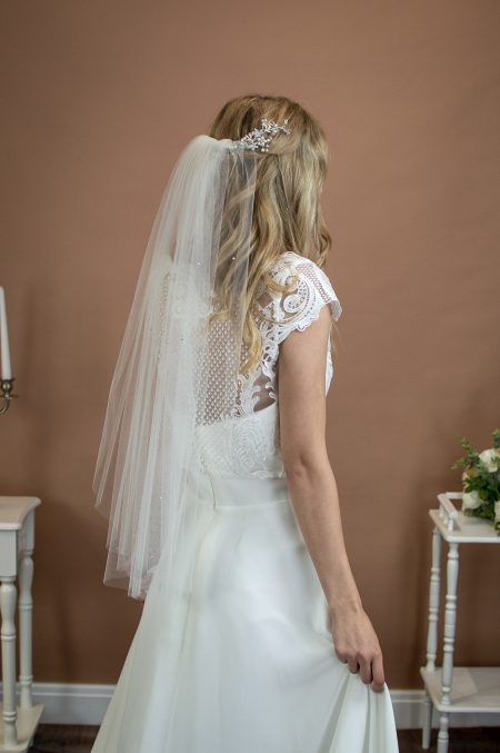 EVIE – one layer waist length wedding veil with a cut edge & scattered diamantes