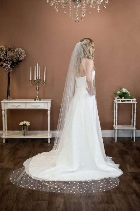 FLEUR – single layer chapel length veil with 3D fabric flowers