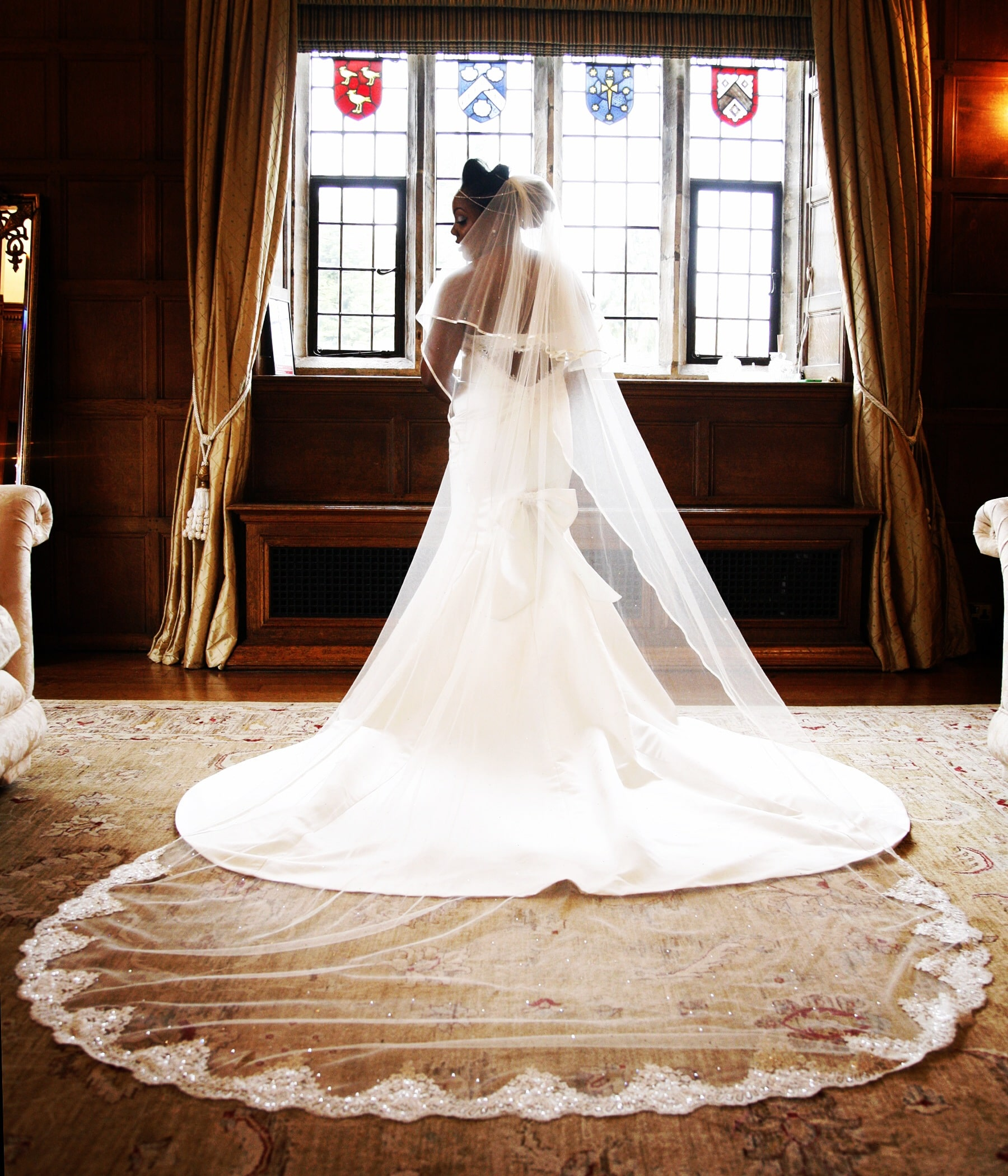 Sparkly lace bottom veil in cathedral length