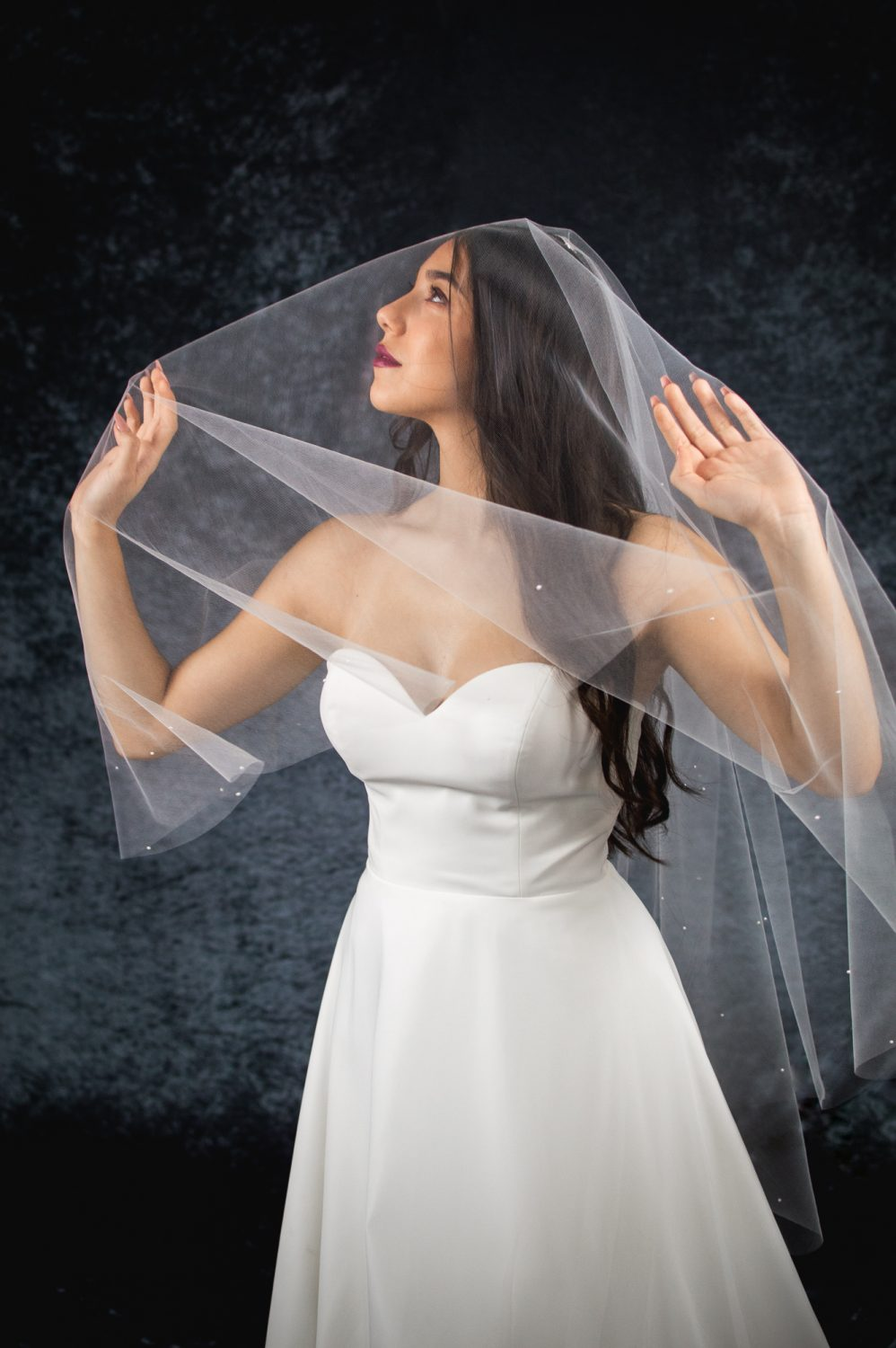 MATILDA – two tier hip length drop veil with a cut edge and scattered pearls (3)