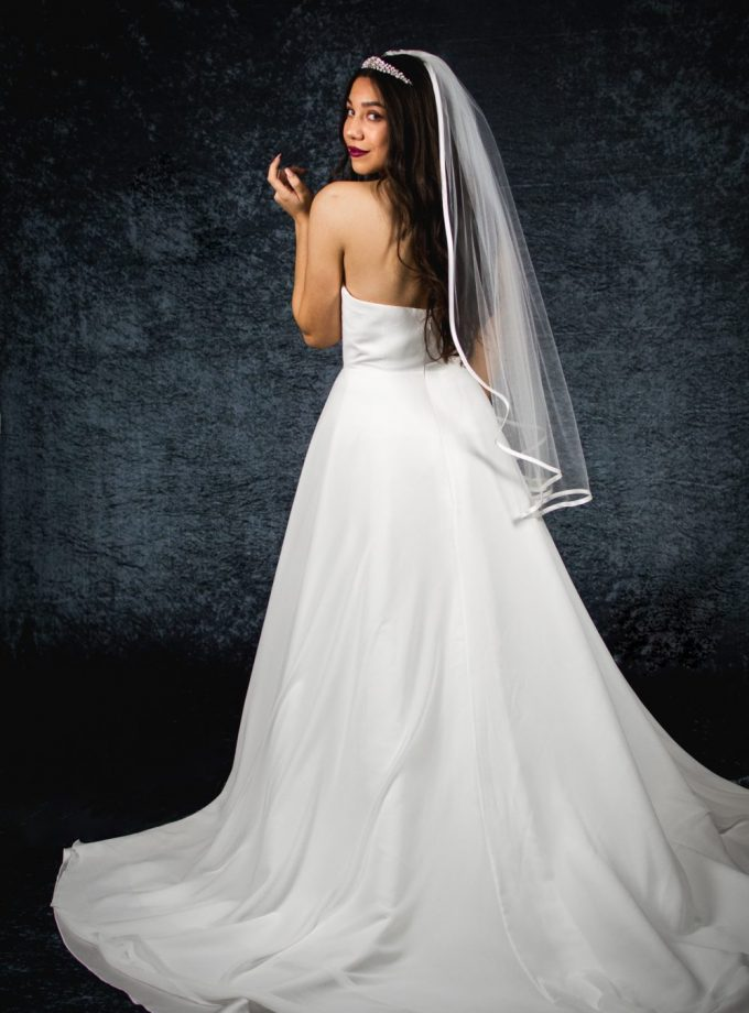 MILLIE – one layer waterfall cut hip length veil with satin edging (2)