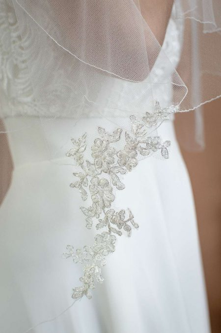 Maisie - two layer scalloped edge veil with beaded lace appliques closeup