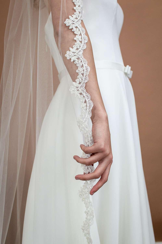 Paris - one tier chapel length veil with beaded scalloped lace edging closeup alt 2