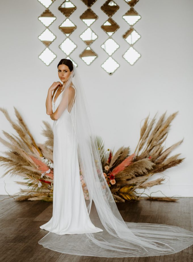 """Phoenix - one layer cathedral length veil with diamantes """"falling stars"""""""