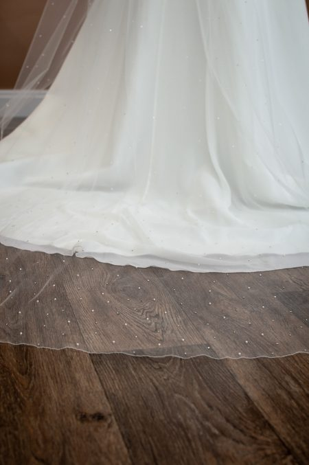 Siobhan - two tier chapel length veil with pearls and diamantes falling stars bottom of train