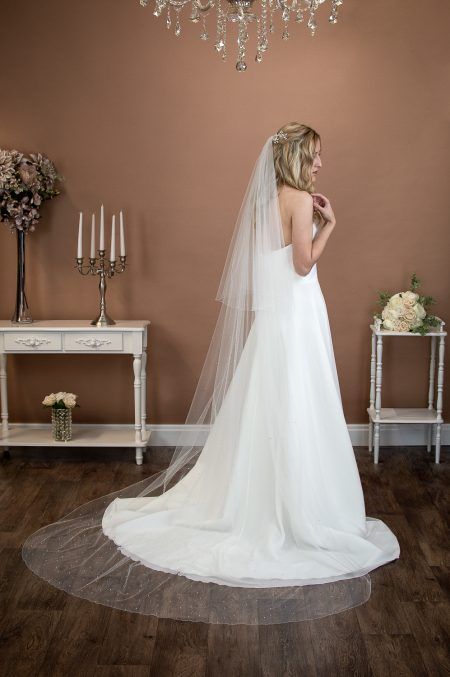 "SIOBHAN – two tier chapel length veil with pearls and diamantes ""falling stars"""