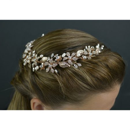 SALE! TLH3120 – Rose gold tiara with crystals & diamantes