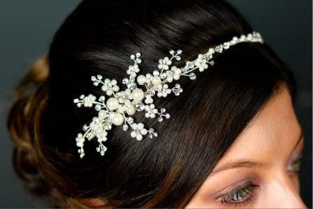 SALE! TLT4537 – hand wired pearl & diamante side headband