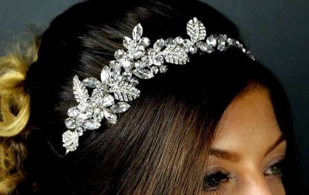SALE! TLT4575 – Rhodium tiara with crystals & diamantes.