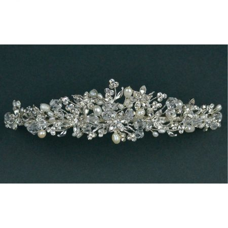 SALE! TLT4650 – Freshwater Pearls, Crystal & Diamante Tiara.