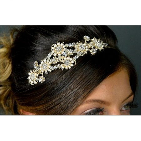 SALE! TLT4673 – Art Deco style diamante side headband in soft gold