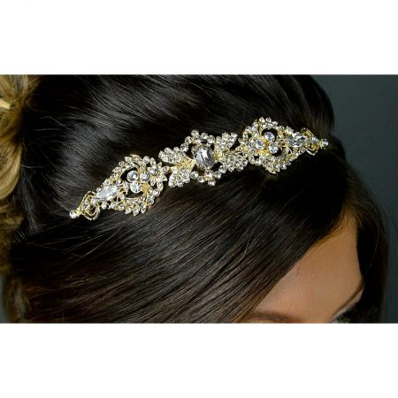 SALE! TLT4674 – Art Deco style diamante side headband in soft gold