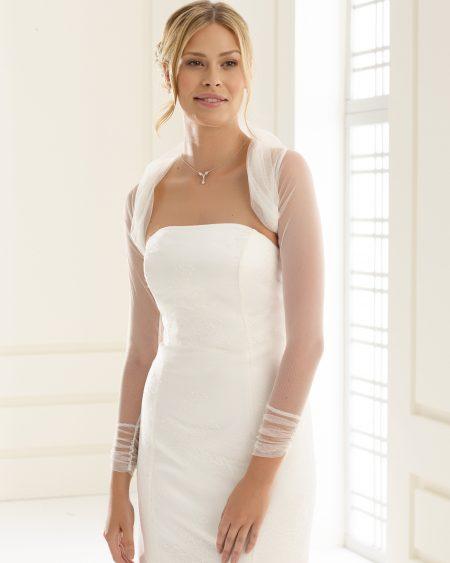 SALE! BB122A – simple tulle bridal bolero – sizes 12, 14