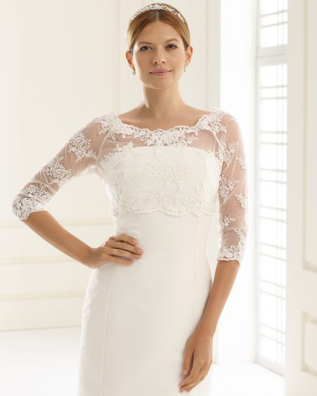 SALE! BB132 – lace and tulle bridal bolero jacket with 3/4 sleeves – UK Size 18