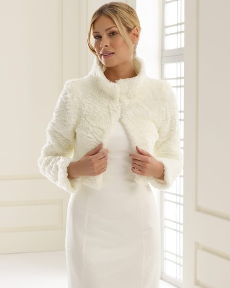 SALE! BB155 – textured faux fur bridal jacket with collar – size 10