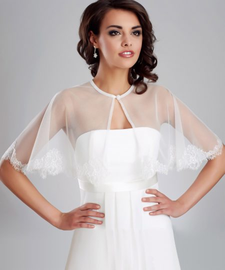 SALE! BB173 – French lace & tulle boho bridal cape – Size 10-12