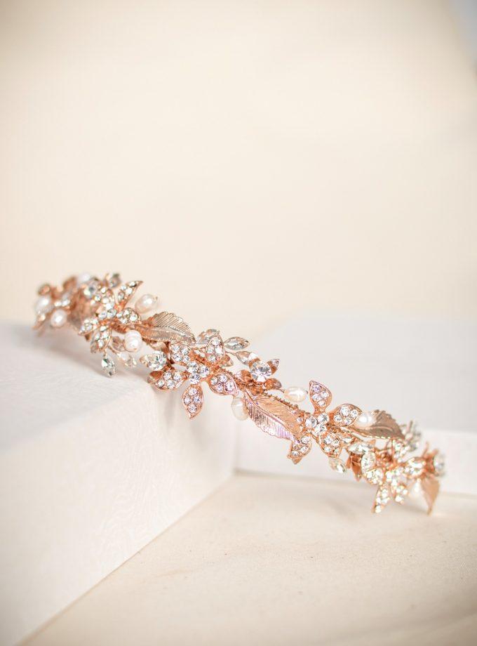 TLH3120 – Rose gold tiara with crystals & diamantes (2)