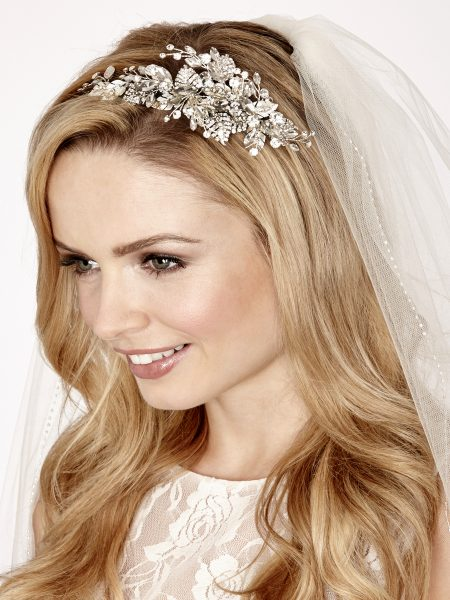 SALE! LT618 – Handmade bridal tiara with diamantes & metal leaves