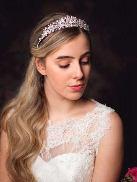 Anne – silver crystal & pearl bridal tiara with diamante flowers