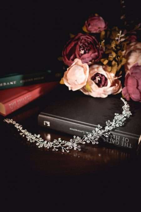 Aurora - Boho bridal hair vine with crystals & diamantes on books tlh3078