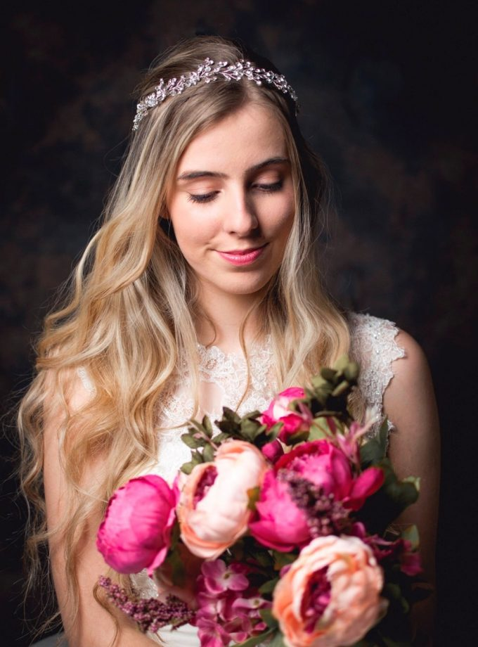 Aurora - Boho bridal hair vine with crystals & diamantes on model bride tlh3078