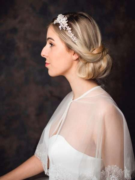 Bette – vintage style hand wired pearl & diamante side headband