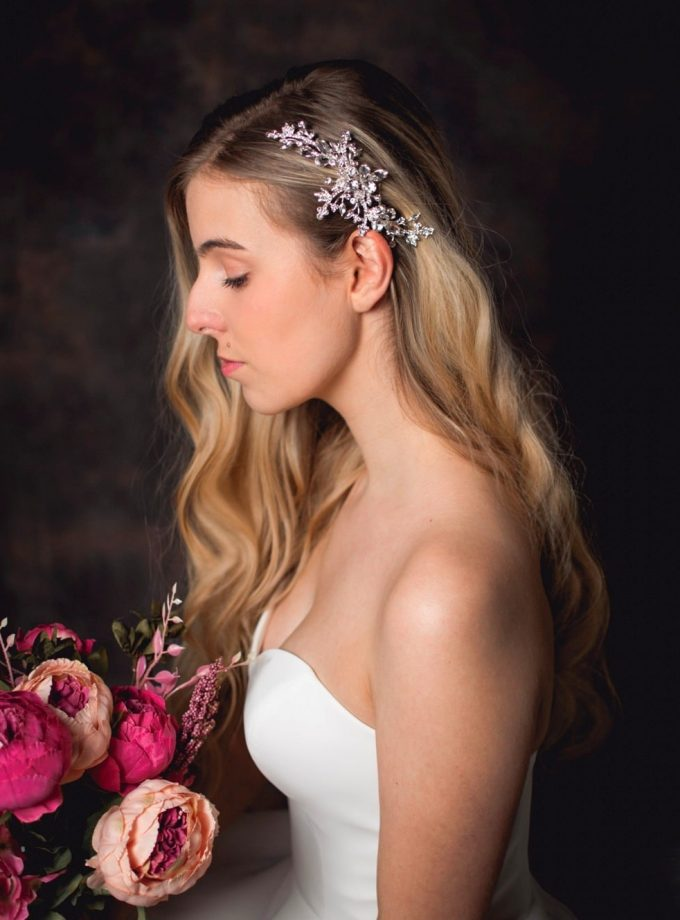 Cosette - classic diamante bridal hair comb with large diamantes on a model bride TLH3095