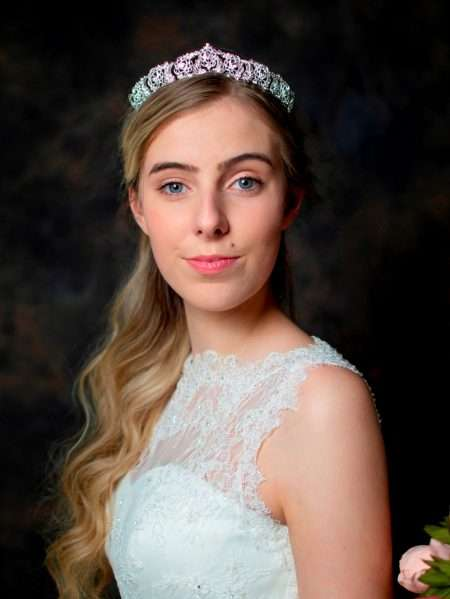 Daenerys – silver diamante bridal tiara with detailed metalwork