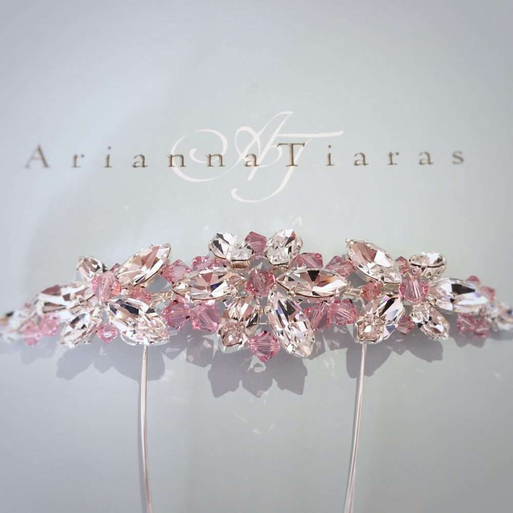 Light Rose pink crystal arianna AR430 comb wedding headpiece