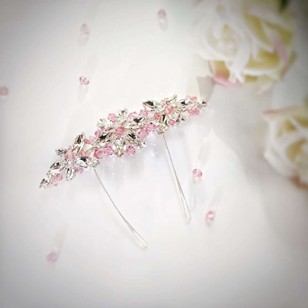 Light Rose pink crystal arianna AR430 comb headpiece for brides