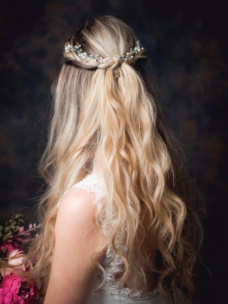 Luna – delicate boho diamante & crystal bridal hair vine