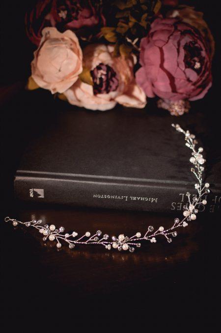Luna - delicate diamante & crystal har vine on books TLH3155