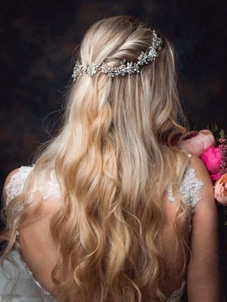 Neptune – crystal & diamante hair vine with floral accents