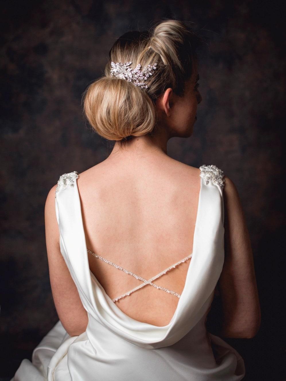 Rita - Vintage bridal hair comb with diamante leaves on model bride TLH3001