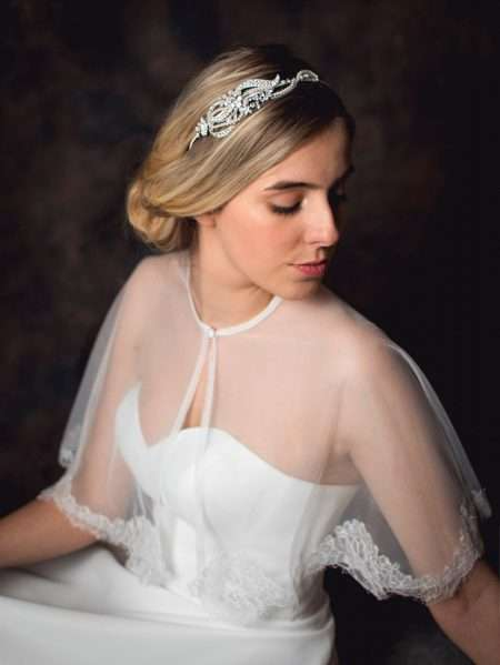 Vivien – pearl & diamante side headband with a scrolling design