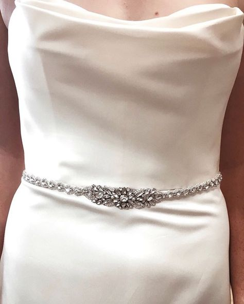 Real bride wearing a bridal belt at the boutique