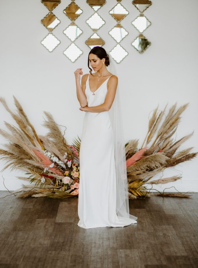 Charlotte – one layer floor length veil with a pencil edge