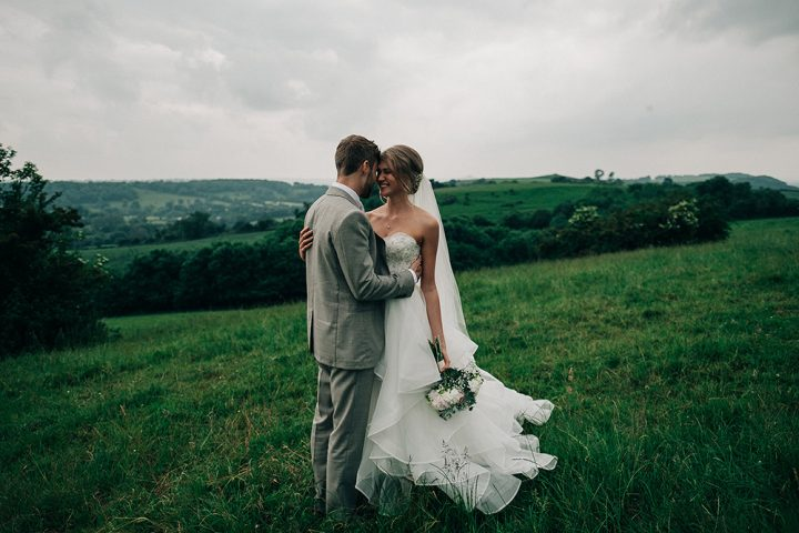 Real bride Taisy also wears our short Kimberley fingertip veil