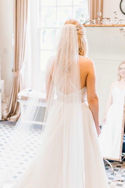 Real bride Lara wearing a custom wedding veil