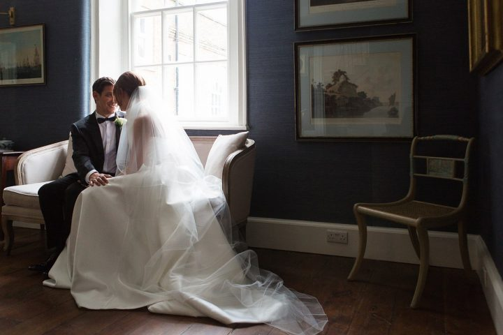 Real bride Becka wears our fabulous two layer chapel length veil 'Paige'.