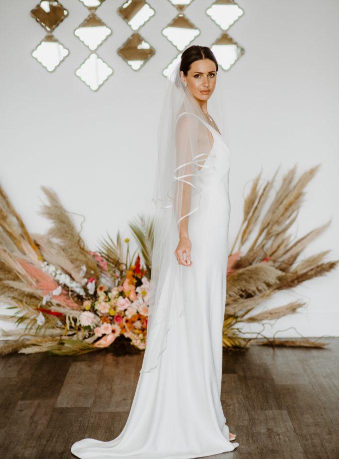 Rosie - two tier waltz length ribbon edge veil